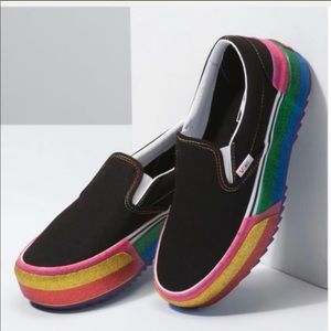 Vans Classic Slip-On Stacked Sneakers: Rainbow